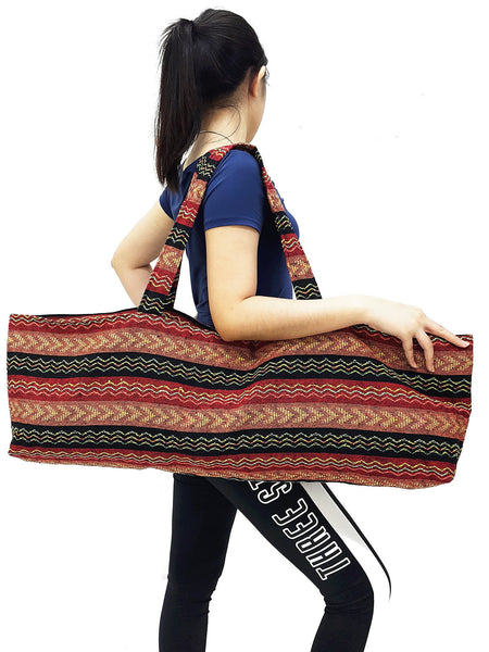 Handmade Yoga Mat Bag Sports Bags Woven Cotton Yoga Bag Tote Yoga Sling bag Pilates Bag Pilates Mat Bag Canvas Bag Women yoga bag (YB241)