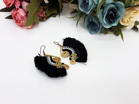 Black Fan Tassels Earrings Drop Earrings Bohemian Pendentes Earrings Hmong Tassel For Women Earrings Gift For Her Hill Tribe - EHT0002B