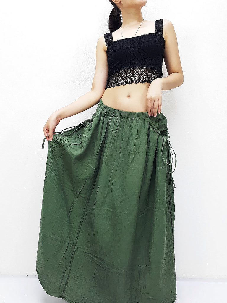 PSS8 Women Clothing Double Cotton Skirts Long Skirts Comfy Skirts Luxury Unique Skirts Maxi Skirt Gypsy Skirt Pale Green