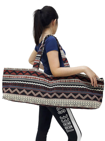 Handmade Yoga Mat Bag Sports Bags Woven Cotton Yoga Bag Tote Yoga Sling bag Pilates Bag Pilates Mat Bag Canvas Bag Women yoga bag (YB103)