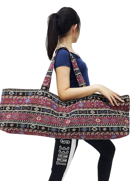 Handmade Yoga Mat Bag Sports Bags Woven Cotton Yoga Bag Tote Yoga Sling bag Pilates Bag Pilates Mat Bag Canvas Bag Women yoga bag (YB189)
