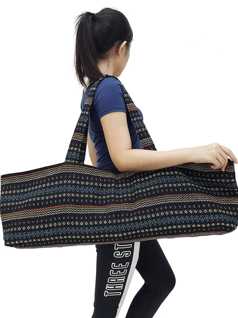 Handmade Yoga Mat Bag Sports Bags Woven Cotton Yoga Bag Tote Yoga Sling bag Pilates Bag Pilates Mat Bag Canvas Bag Women yoga bag (YB178)