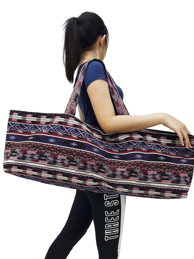 Handmade Yoga Mat Bag Sports Bags Woven Cotton Yoga Bag Tote Yoga Sling bag Pilates Bag Pilates Mat Bag Canvas Bag Women yoga bag (YB80)