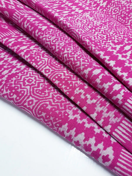 Thai Hand printed Fabric Natural Cotton Fabric by the yard Hmong Fabric Hill Tribe Fabric Vintage Fabric Batik Tribal Fabric Hot Pink HFP42