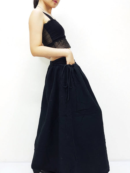 PSS9 Women Clothing Double Cotton Skirts Long Skirts Comfy Skirts Luxury Unique Skirts Maxi Skirt Gypsy Skirt Black