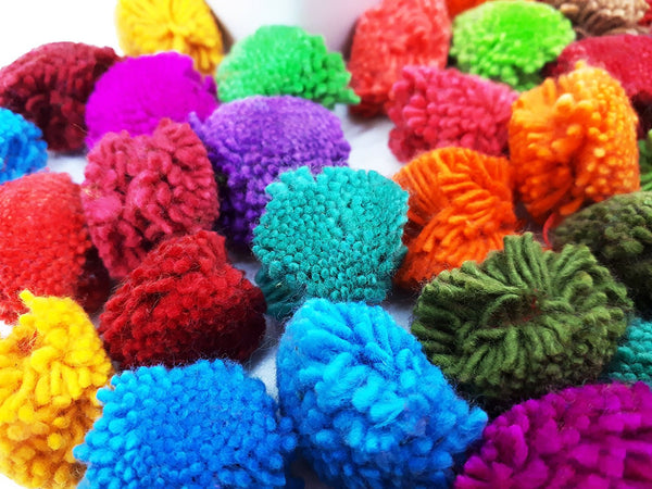 Handmade Pom Poms Hmong Hill Tribe Pom Pom Multi Color Pompom Cotton Yarn craft supplies decorations mix color 50 pcs - PC01-2.5