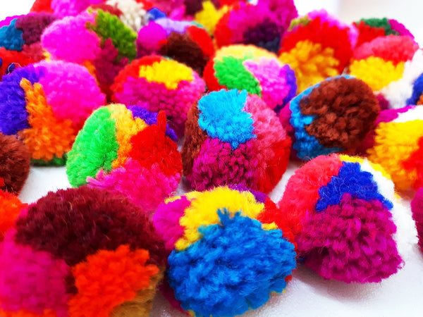 Handmade Pom Poms Hmong Hill Tribe Pom Pom Multi Color Pompom Yarn craft supplies decorations mix color 50 pcs - PY02-2.5