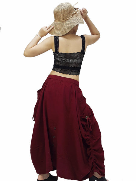 PST10 Women Clothing Double Cotton Skirts Pants Long Skirts Comfy Skirts Luxury Pleated Skirts Unique Skirts Maxi Skirt Gypsy Skirt Red