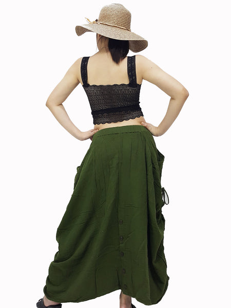 PST1 Women Clothing Double Cotton Skirts Pants Long Skirts Comfy Skirts Luxury Pleated Skirts Unique Skirts Maxi Skirt Gypsy Olive Green