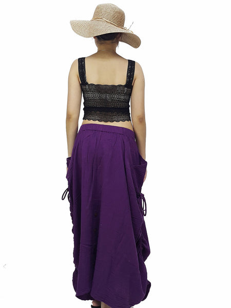 PST4 Women Clothing Double Cotton Skirts Pants Long Skirts Comfy Skirts Luxury Pleated Skirts Unique Skirts Maxi Skirt Gypsy Dark Purple