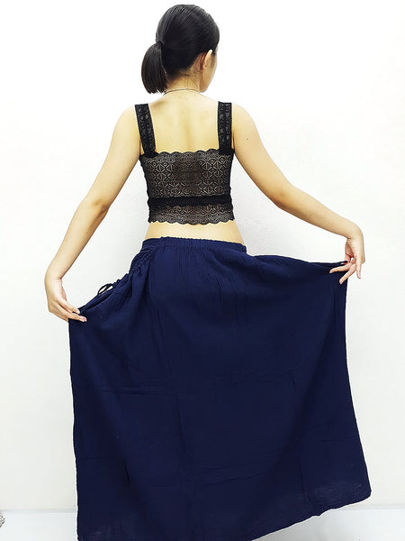 PSS5 Women Clothing Double Cotton Skirts Long Skirts Comfy Skirts Luxury Unique Skirts Maxi Skirt Gypsy Skirt Navy Blue