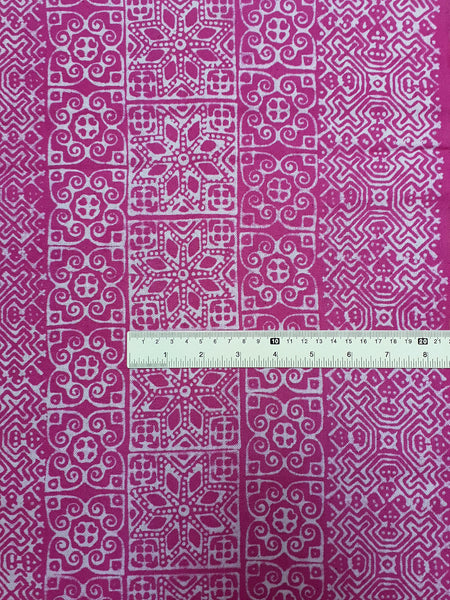 Thai Hand printed Fabric Natural Cotton Fabric by the yard Hmong Fabric Hill Tribe Fabric Vintage Fabric Batik Tribal Fabric Hot Pink HFP43