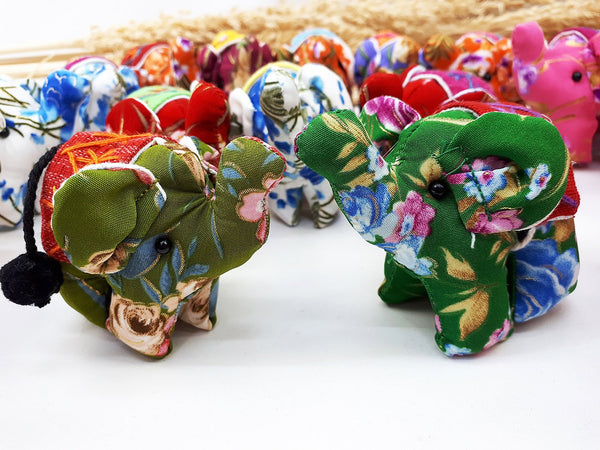 Handmade Animal Doll Elephant Craft Supplies Key Chains Cute Home decor Pretty Animal Stuff Sewing Gifts Souvenir Mixed Color (4 Pcs) - AE01
