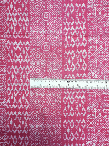 Hand printed Fabric Natural Cotton Fabric by the yard Hmong Fabric Hill Tribe Fabric Vintage Fabric Batik Tribal Fabric Punch Pink HFP73