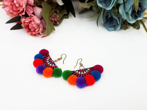 Rainbow Fan Pom Pom Earrings Drop Earrings Bohemian Pendentes Earrings Hmong Tassel For Women Earrings Gift For Her Hill Tribe - EHP0001-1