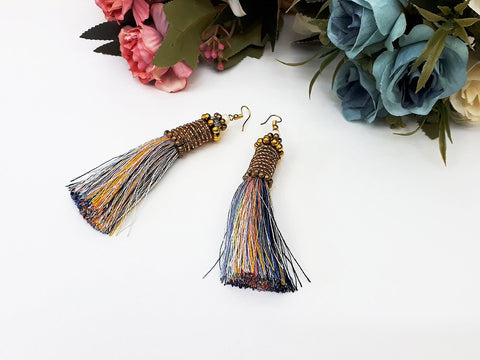Rainbow Tassels Earrings Drop Earrings Bohemian Pendentes Earrings Hmong Tassel For Women Earrings Gift For Her Hill Tribe - EHT0003-1