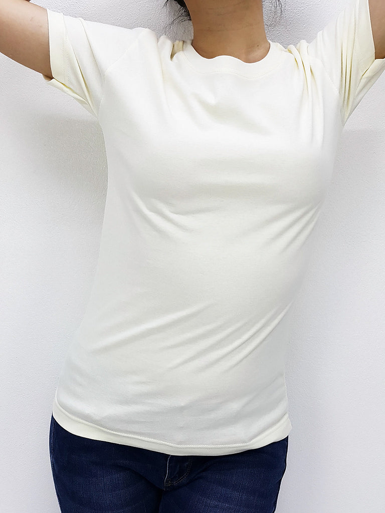 CTS01 100% Cotton T Shirt Crew Neck V Neck Long Sleeves Solid Cream