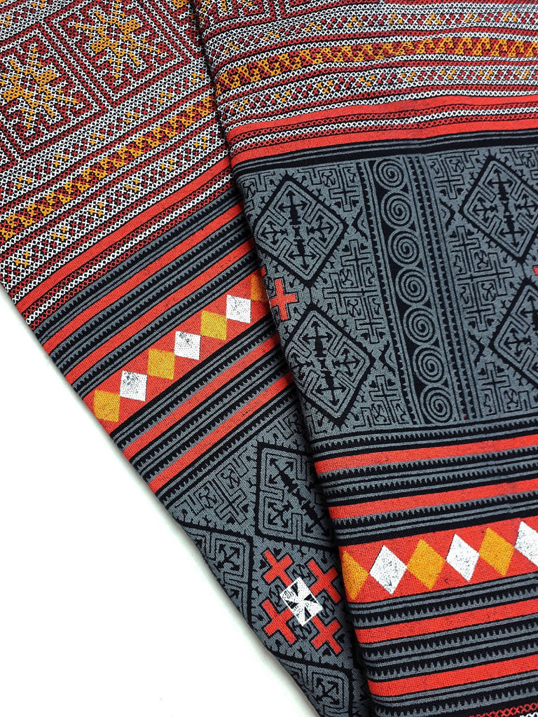 Thai Cotton Fabric Tribal Fabric Native Fabric by the yard Ethnic fabric Craft Supplies Hill Tribe Textile 1/2 yard Black (TCF1)