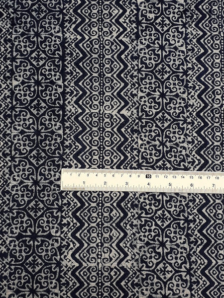 Thai Hand printed Fabric Natural Cotton Fabric by the yard Hmong Fabric Hill Tribe Fabric Vintage Fabric Batik Fabric Indigo - HFL11