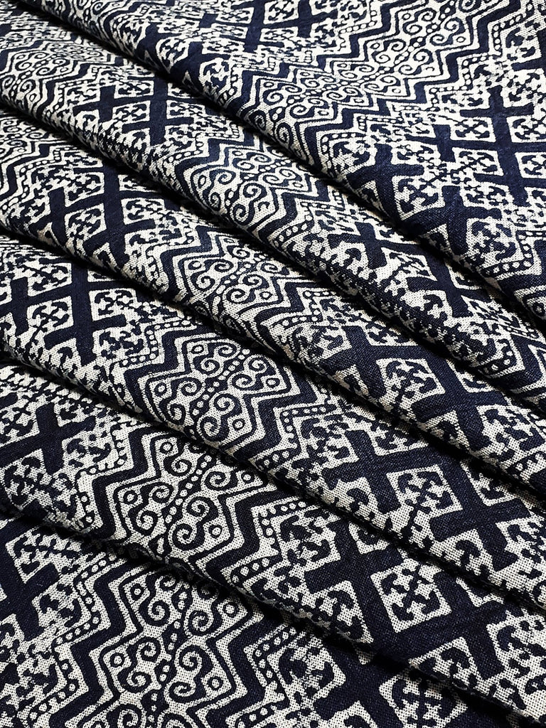 Thai Hand printed Fabric Natural Cotton Fabric by the yard Hmong Fabric Hill Tribe Fabric Vintage Fabric Batik Fabric Indigo - HFL13