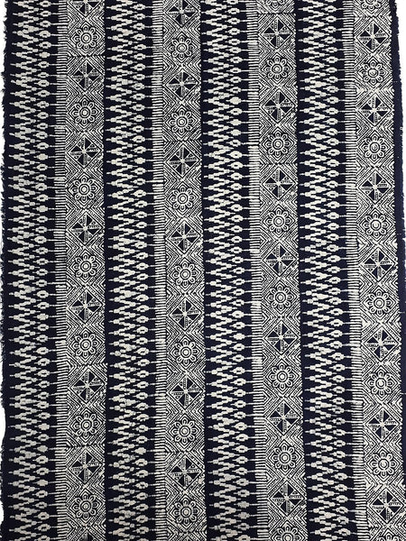 Thai Hand printed Fabric Natural Cotton Fabric by the yard Hmong Fabric Hill Tribe Fabric Vintage Fabric Batik Fabric Indigo - HFL14