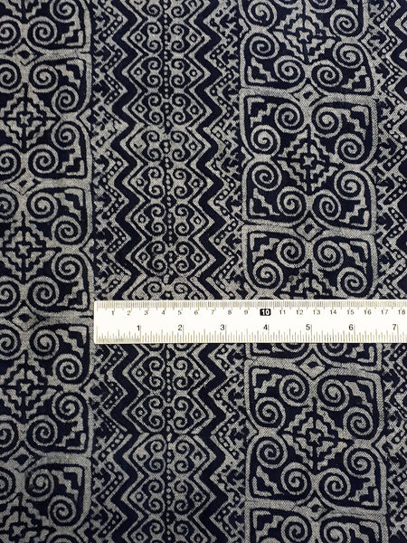 Thai Hand printed Fabric Natural Cotton Fabric by the yard Hmong Fabric Hill Tribe Fabric Vintage Fabric Batik Fabric Indigo - HFL15