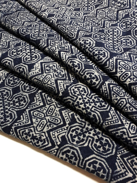 Thai Hand printed Fabric Natural Cotton Fabric by the yard Hmong Fabric Hill Tribe Fabric Vintage Fabric Batik Fabric Indigo - HFL16