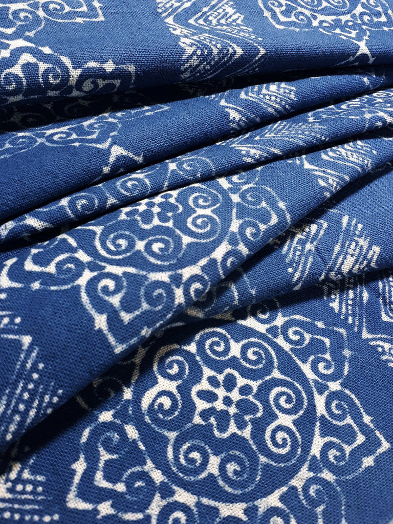 Thai Hand printed Fabric Natural Cotton Fabric by the yard Hmong Fabric Hill Tribe Fabric Vintage Fabric Batik Fabric Prussian Blue HFP17