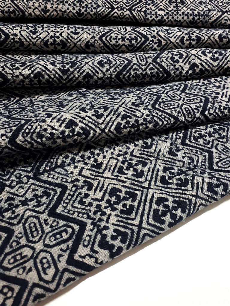 Thai Hand printed Fabric Natural Cotton Fabric by the yard Hmong Fabric Hill Tribe Fabric Vintage Fabric Batik Fabric Indigo - HFL18