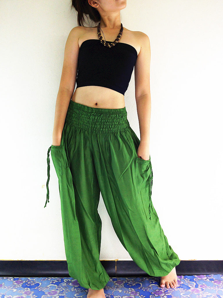 PLUS SIZE XXL Handmade Harem Trousers Rayon Bohemian Trousers Hippie Boho Pants Forest Green (TC56)