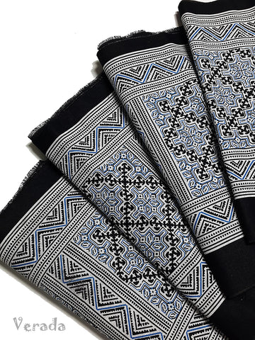Thai Hand printed Hmong Hill Tribe Batik Fabric Black White HF10