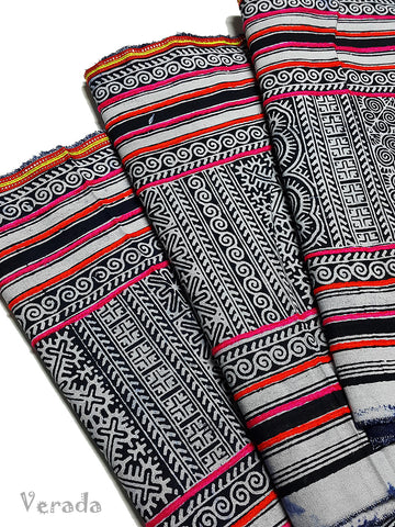 Thai Hand printed Hmong Hill Tribe Batik Fabric Black White HF6