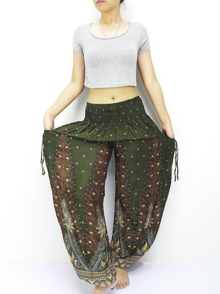 PLUS SIZE XXL Handmade Harem Trousers Rayon Bohemian Trousers Hippie Boho Pants Feather Green (TS155)