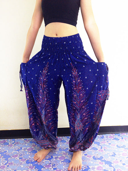 PLUS SIZE XXL Handmade Harem Trousers Rayon Bohemian Trousers Hippie Boho Pants Feather Dark Blue (TS42)