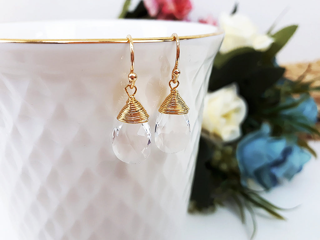 (EBM001C4) Clear Synthetic Crystal Earring Teardrop Pendant Gold Plated over Brass Wire Wedding Jewelry Bridesmaid Gift For Mom Gift For Her, Piida, HaremPantsThai
