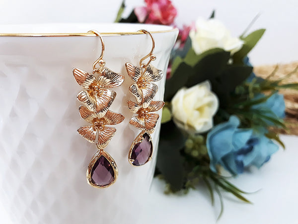 (EPD011C-1) Amethyst Glass Stone Gold Flowers Earring February Birthstone Wedding Jewelry Bridesmaid Gift For Mom Gift For Her, Piida, HaremPantsThai