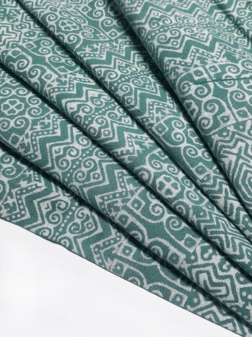 Thai Hand printed Fabric Natural Cotton Fabric by the yard Hmong Fabric Hill Tribe Fabric Vintage Fabric Batik Fabric Green HFP86
