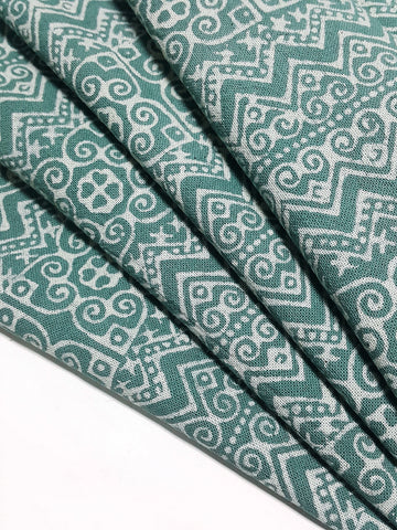 Thai Hand printed Fabric Natural Cotton Fabric by the yard Hmong Fabric Hill Tribe Fabric Vintage Fabric Batik Fabric Green HFP87