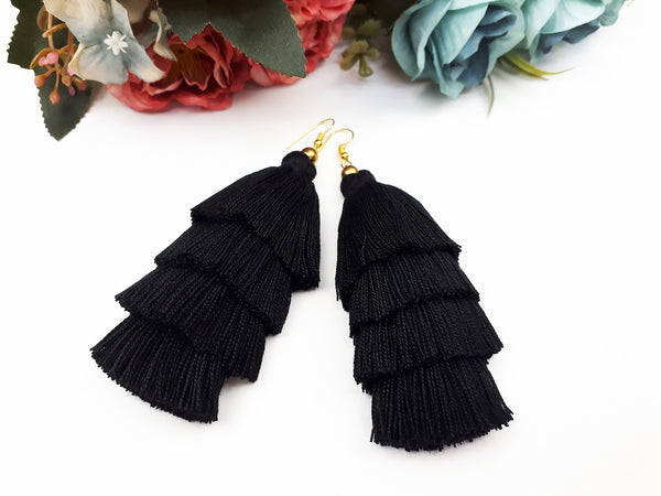 Piida Tiered Tassel Earrings Dangle Drop Earrings Bohemian Boho Earrings Ethnic Jewelry Fringe Tassel Women Earrings Cotton Black TTE-C26