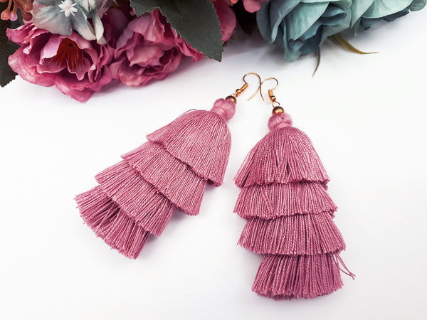 Piida Tiered Tassel Earrings Dangle Drop Earrings Bohemian Boho Earrings Ethnic Jewelry Fringe Tassel Women Earrings Cotton Rose TTE-C14