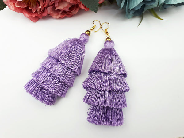 Piida Tiered Tassel Earrings Dangle Drop Earrings Bohemian Boho Earrings Ethnic Jewelry Fringe Tassel Women Earrings Cotton Soft Purple TTE-C12