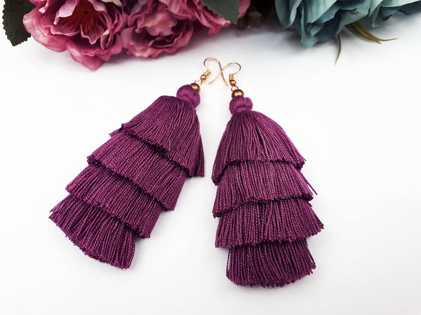 Piida Tiered Tassel Earrings Dangle Drop Earrings Bohemian Boho Earrings Ethnic Jewelry Fringe Tassel Women Earrings Cotton Purple Pink TTE-C5