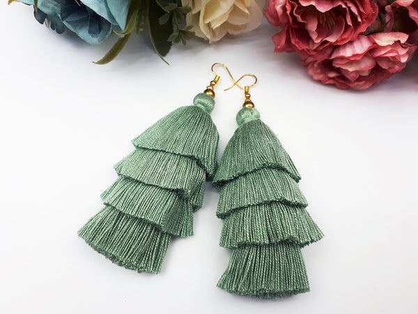 Piida Tiered Tassel Earrings Dangle Drop Earrings Bohemian Boho Earrings Ethnic Jewelry Fringe Tassel Women Earrings Cotton Pale Green TTE-C13