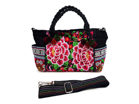 Hill Tribe Bag Pom Pom Tribal Handbags Hmong Cotton Bag Embroidered Ethnic Purse Woven Bag Hippie Bag Crossbody Bag Boho Bag Flower HBS1