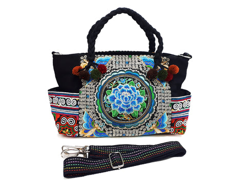 Hill Tribe Bag Pom Pom Tribal Handbags Hmong Cotton Bag Embroidered Ethnic Purse Woven Bag Hippie Bag Crossbody Bag Boho Bag Flower HBS2