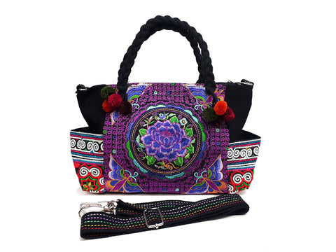 Hill Tribe Bag Pom Pom Tribal Handbags Hmong Cotton Bag Embroidered Ethnic Purse Woven Bag Hippie Bag Crossbody Bag Boho Bag Flower HBS3