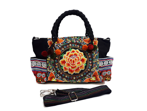Hill Tribe Bag Pom Pom Tribal Handbags Hmong Cotton Bag Embroidered Ethnic Purse Woven Bag Hippie Bag Crossbody Bag Boho Bag Flower HBS4