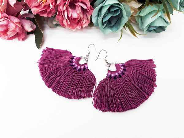 Piida Macrame Earrings Fan Tassel Earrings Drop Earrings Boho Earrings Ethnic Jewelry Cotton Fringe Tassel Women Earrings MFT