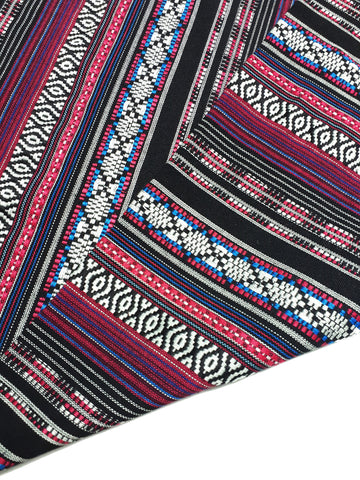 Veradacraft Thai Woven Fabric Tribal Fabric Native Fabric Ethnic fabric Aztec fabric Craft Supplies Woven Textile 1/2 yard Pink (FF13)