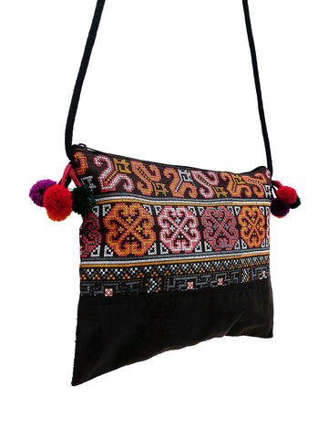 Cotton Bag Mini Bag Pom Pom Hill Tribe Bag Cotton Purse Hippie Bag Clutch Shoulder bag Handbags Sling Bag Mini Crossbody Bag MBP34